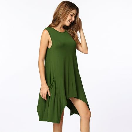 Women Summer Sleeveless Pockets Tunic Tank Tops Asymmetrical Hem Flowy Swing T Shirt Dress Casual Top - image 5 of 5