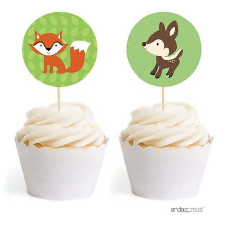 Woodland Forest Baby Shower Cupcake Topper DIY Party Favors Kit, 20-Pack (Diy Baby Shower Favors)