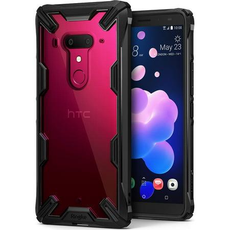 Black Transparent Bumper (HTC U12 Plus Case, Ringke [FUSION-X] Ergonomic Transparent [Military Drop Tested] Hard PC Back TPU Bumper Impact Resistant Shock Absorbent Cover for HTC U 12 Plus -)