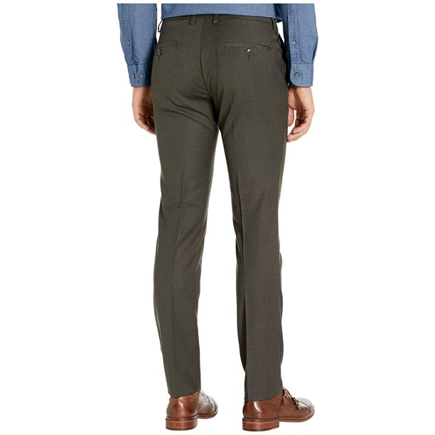 Kenneth Cole Reaction Stretch Micro Check Houndstooth Skinny Fit Flat Front Dress Pants Chocolate