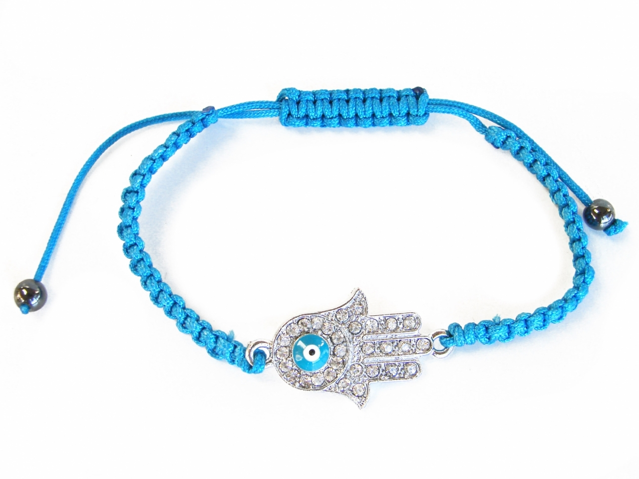 Jeweled Blue Hamsa Hand Bracelet