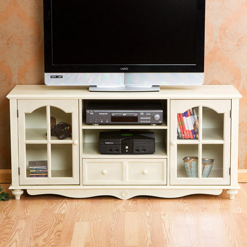 """Sunrise Large Antique White TV Console, For TVs Up To 50"""""""