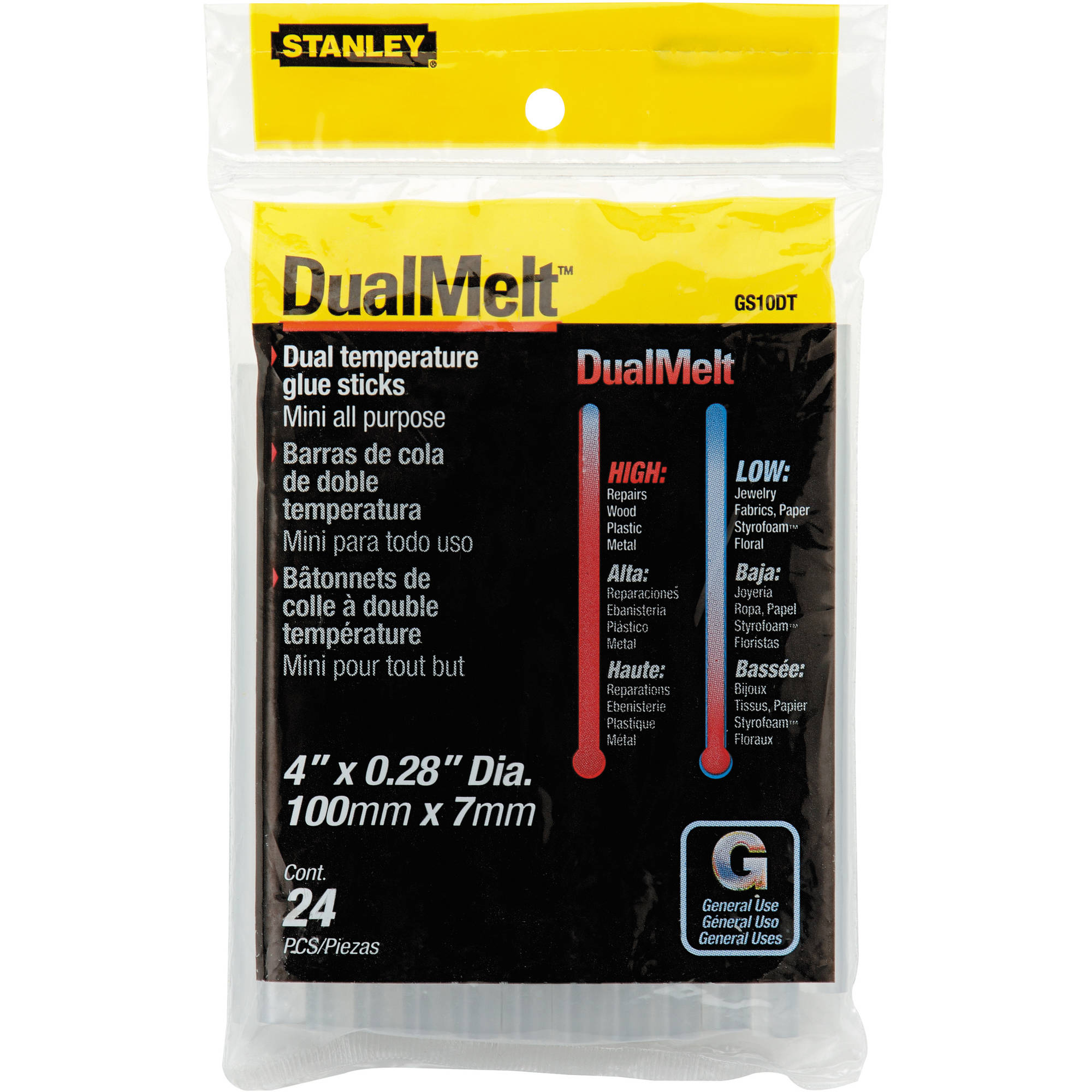 "STANLEY DUALMELT MINI GLUE STICKS 4"" - 24 PACK"