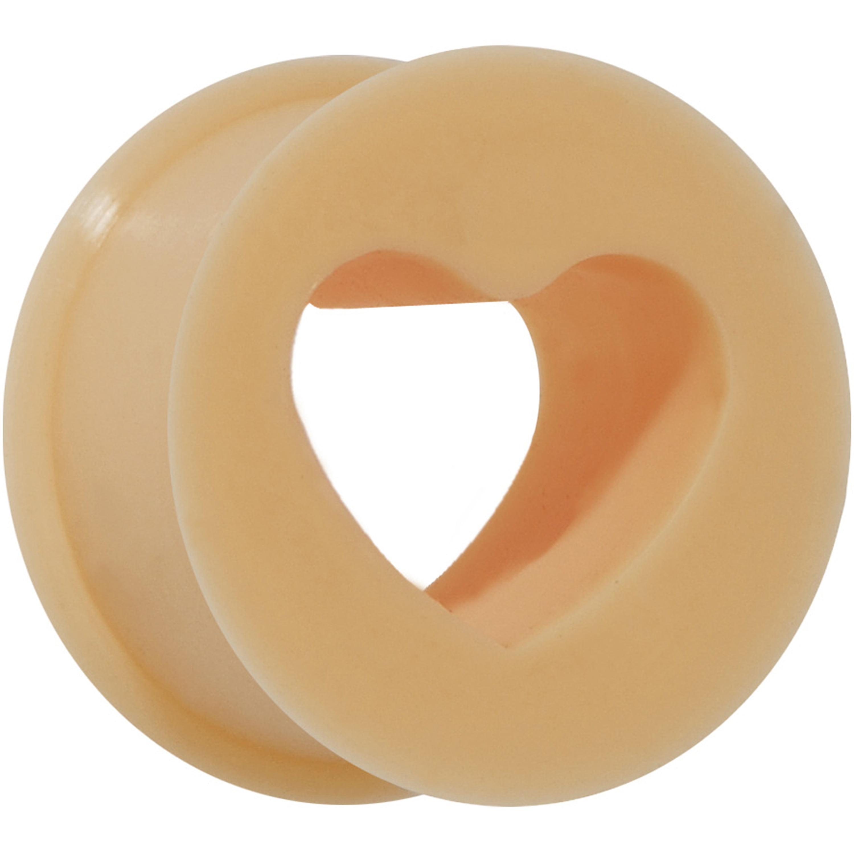 0 Gauge Flesh Heart Silicone Flexible Tunnel (1 Piece)