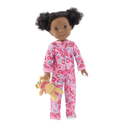 14 Inch Doll Clothes/Clothing   Pink Footed Heart Pajamas PJ Outfit with Teddy Bear   Fits American Girl Wellie Wishers Dolls (Teddy Bear With Heart)