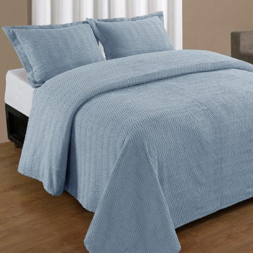 NATICK CHENILLE BEDSPREAD AND PILLOW SHAM SET, ALL COTTON, KING SIZE, BLUE