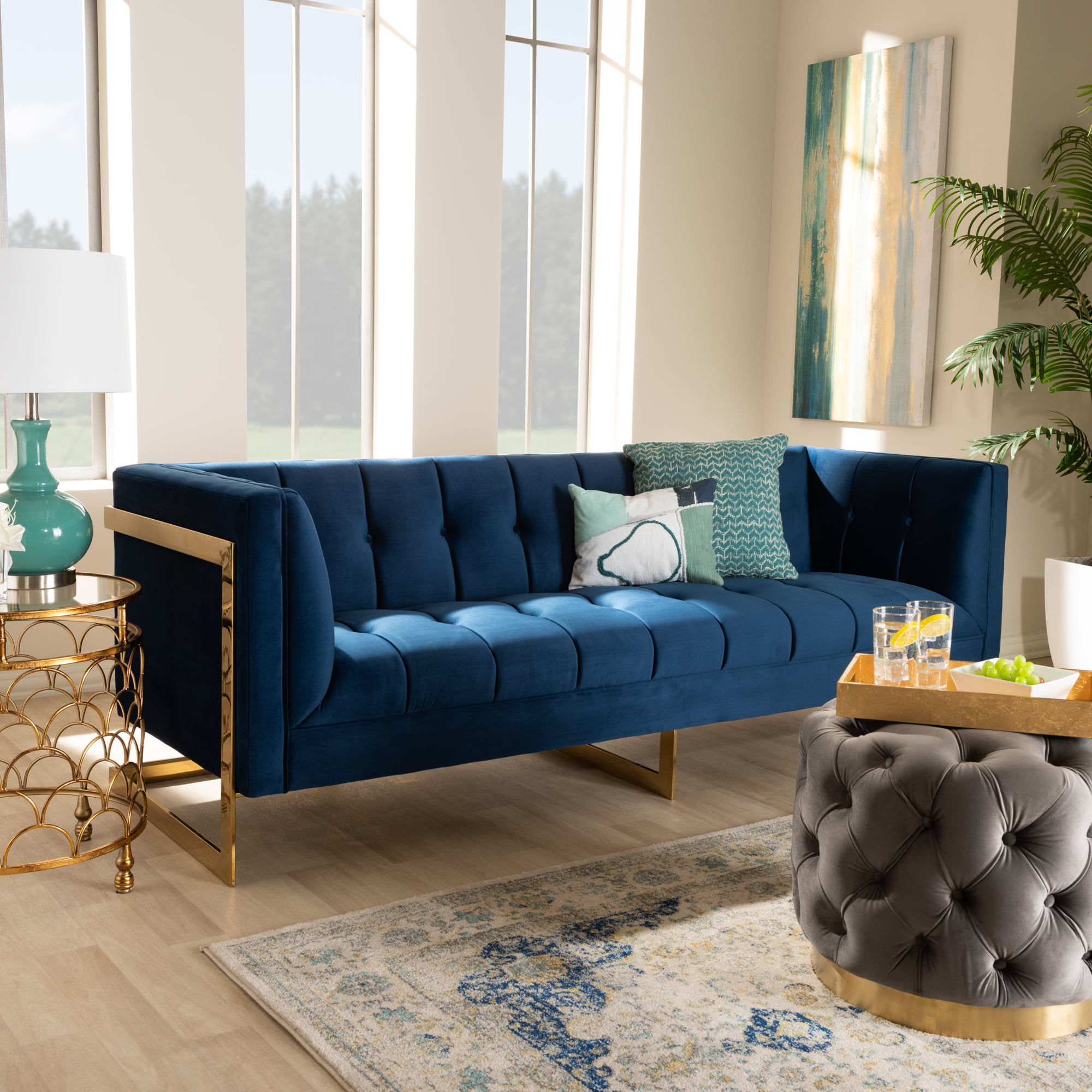 Baxton Studio Ambra Glam And Luxe Royal Blue Velvet Fabric Upholstered And Button Tufted Gold Sofa With Gold Tone Frame Walmart Com Walmart Com
