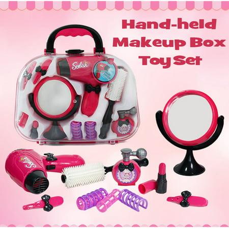 - M.way Labs Kids Make Up Kit Hair Stylist Salon Playset Hair Dryer Mirror Cosmetic Make Up Case Girls Pretend Play Toy