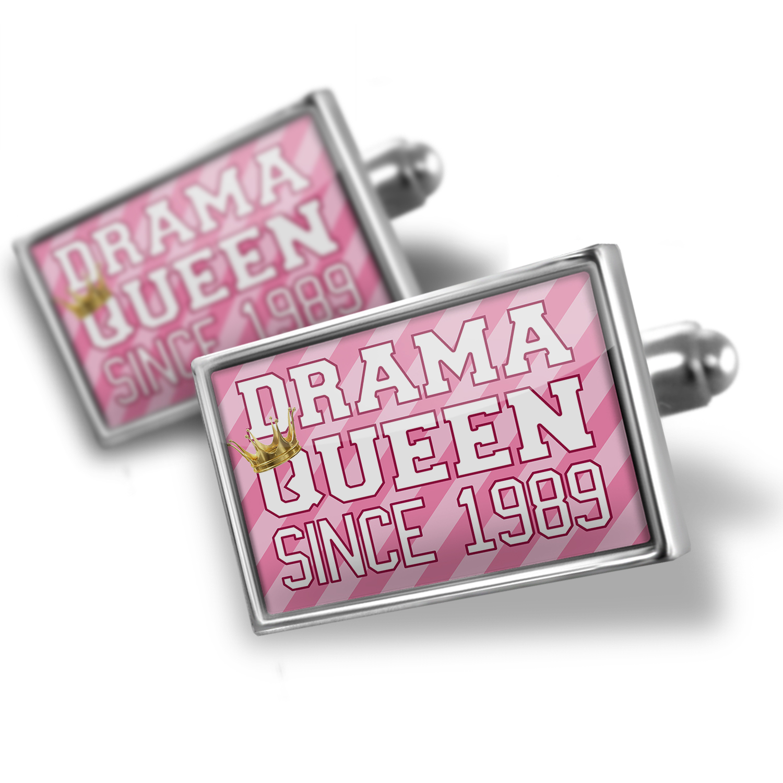 Cufflinks Drama Queen since 1989, in pink - NEONBLOND