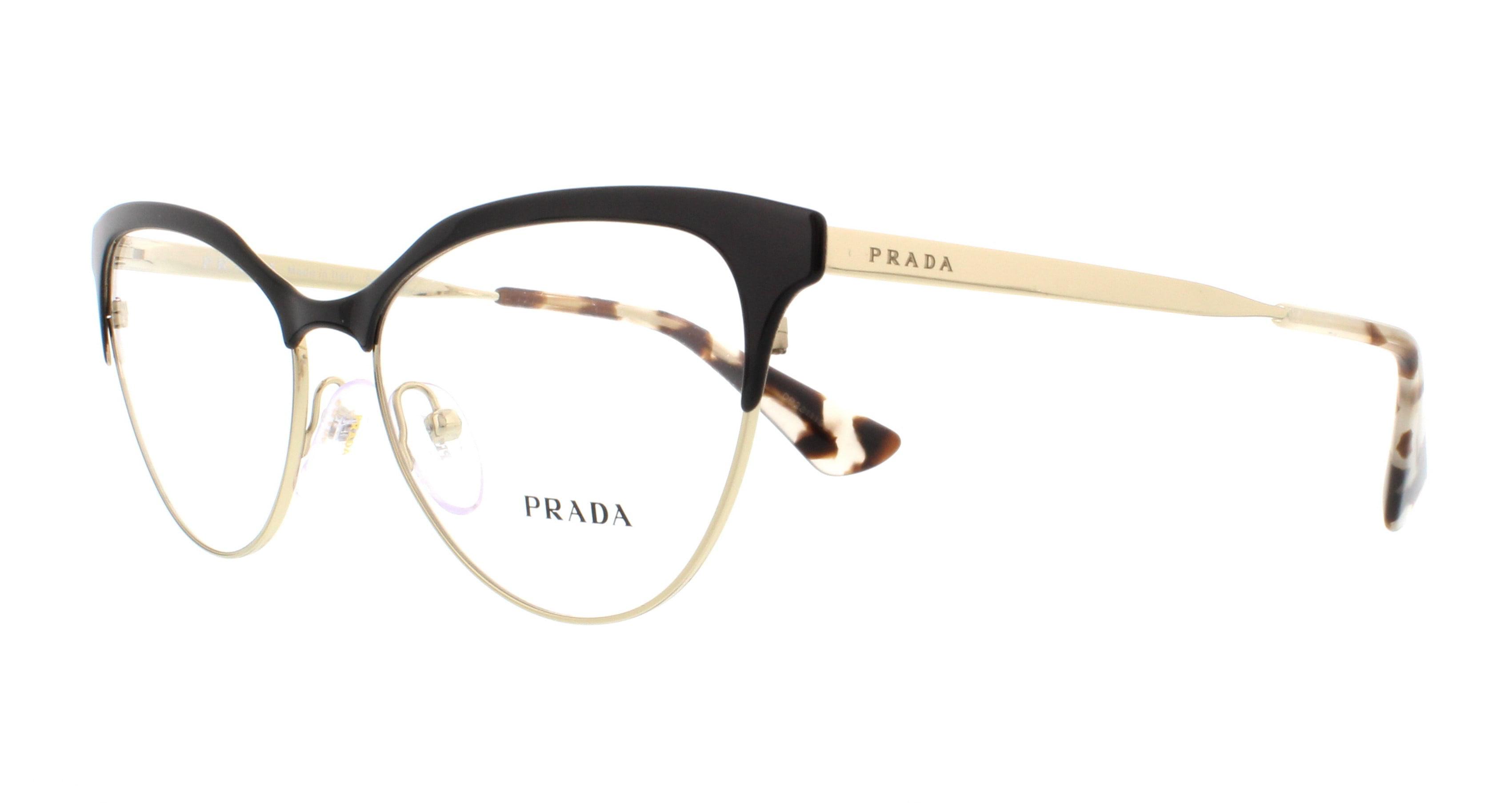 8b2ce815db PRADA Eyeglasses PR 55SV QE31O1 Black  Pale Gold 52MM - Walmart.com