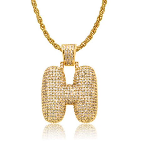 Iced Out Bubble Letters Pendant Necklace Gold-Plated Cubic Zirconia Hip Hip Bling Jewelry 60cm Chain (H) ()