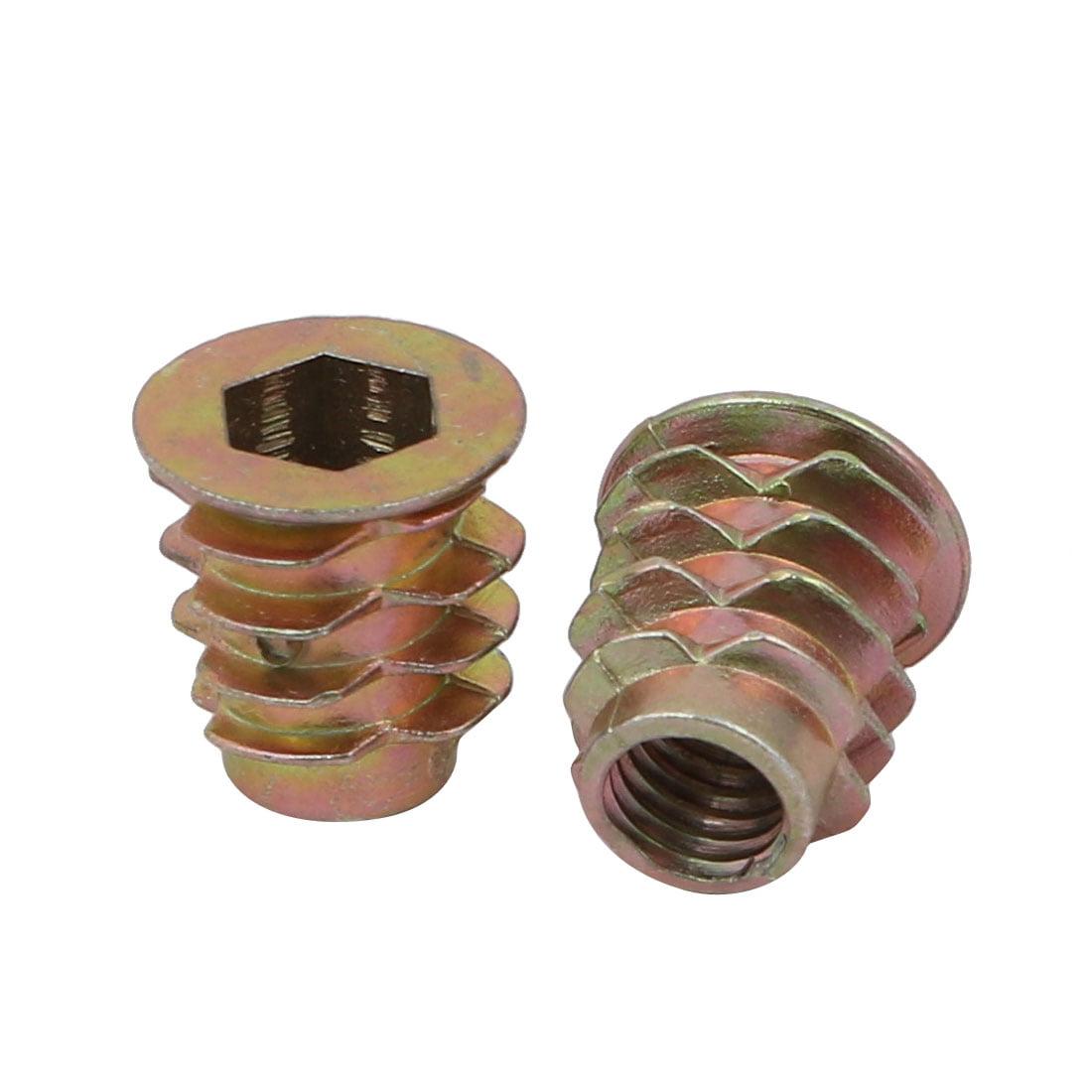 Unique Bargains 20pcs M6x13mm Zinc Alloy Hex Socket Drive Flange Insert Nut for Wood Furniture - image 2 de 3