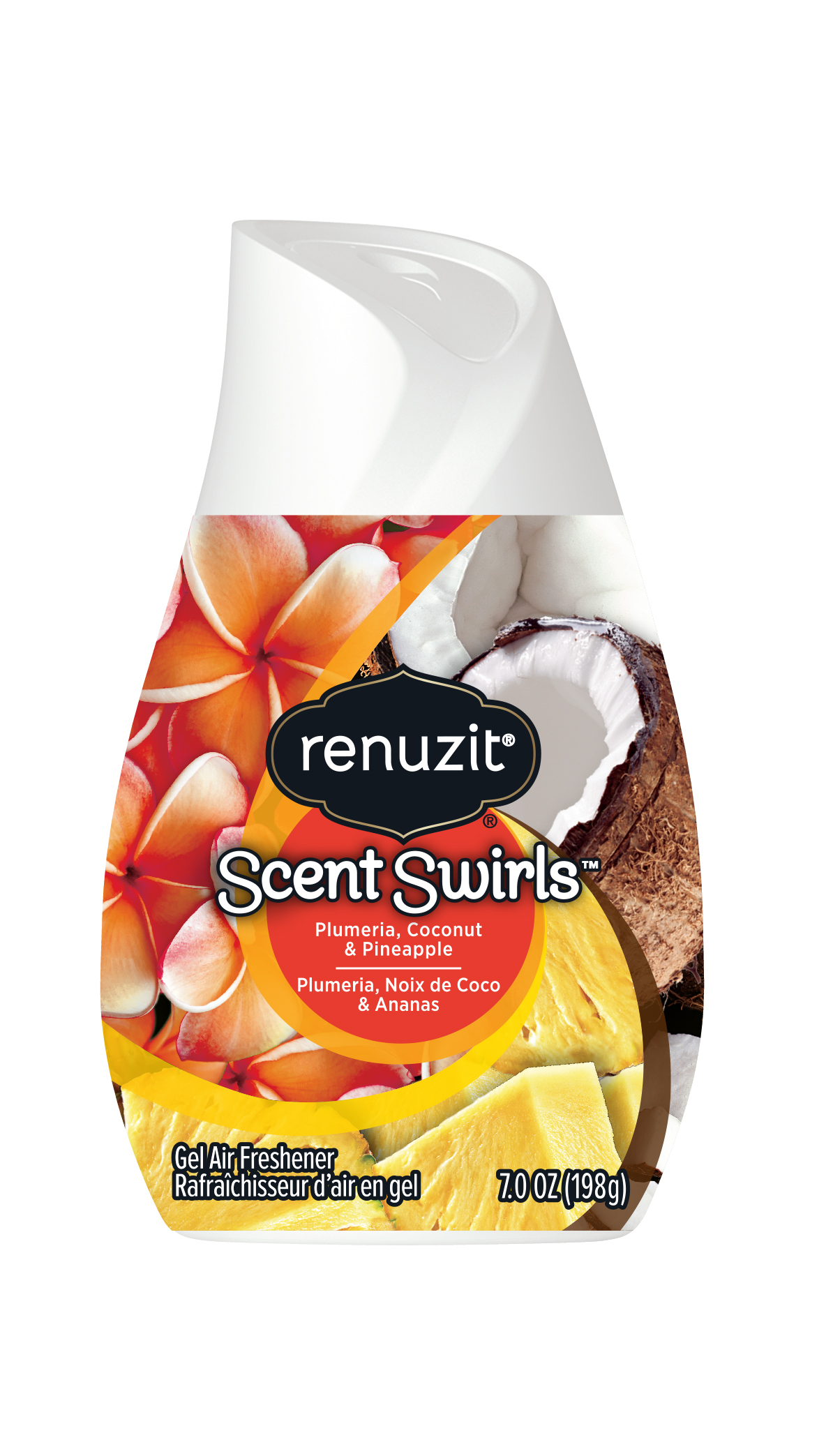 Gel Air Freshener >> Renuzit Scent Swirl Gel Air Freshener Plumeria Coconut Pineapple 7 Ounces