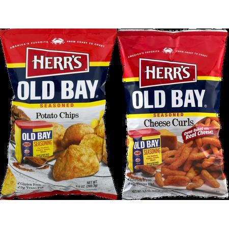 Herr's Old Bay Seasoned Potato Chips & Old Bay Seasoned Cheese Curls Variety 2-Pack