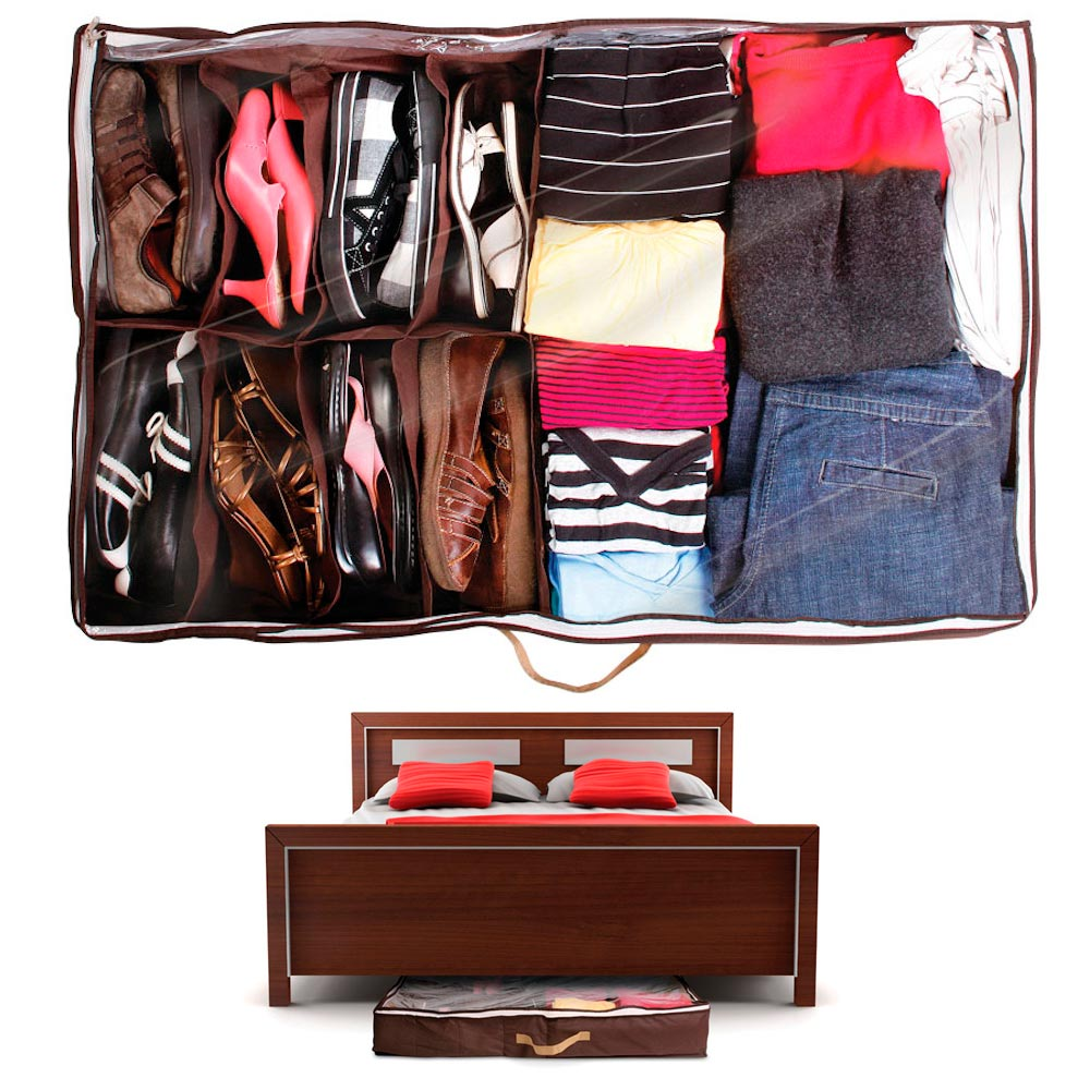 Hide A Closet Under Bed Organizer Storage Container Clear Zippered Drawer Handle