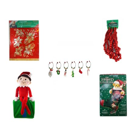 Large Footed Glasses - Christmas Fun Gift Bundle [5 Piece] -  Touch of Gold 1-Step Iron-On Foil Poinsettias -  Time Red Bead Garland 9' Foot - LSArts Wine Glass Charms  Set of 6 - Elf On Shelf Large  LARGE 24