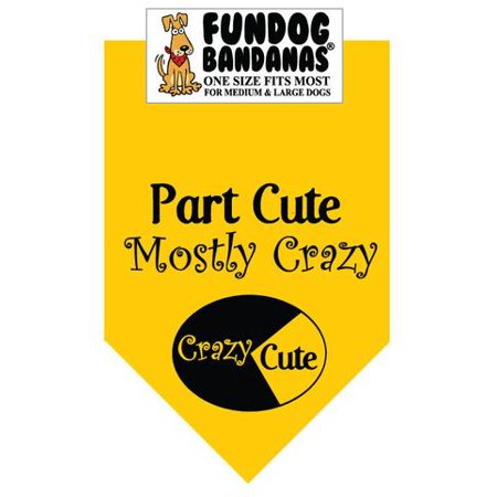 Fun Dog Bandana - Part Cute; Mostly Crazy - One Size Fits Most for Med to Lg Dogs, gold pet - Cute Large Dogs