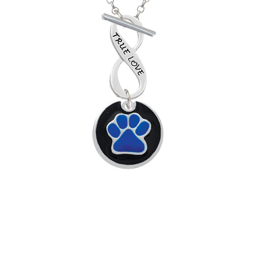 3/4'' Royal Blue Paw in Black Circle - True Love Infinity Toggle Chain Necklace
