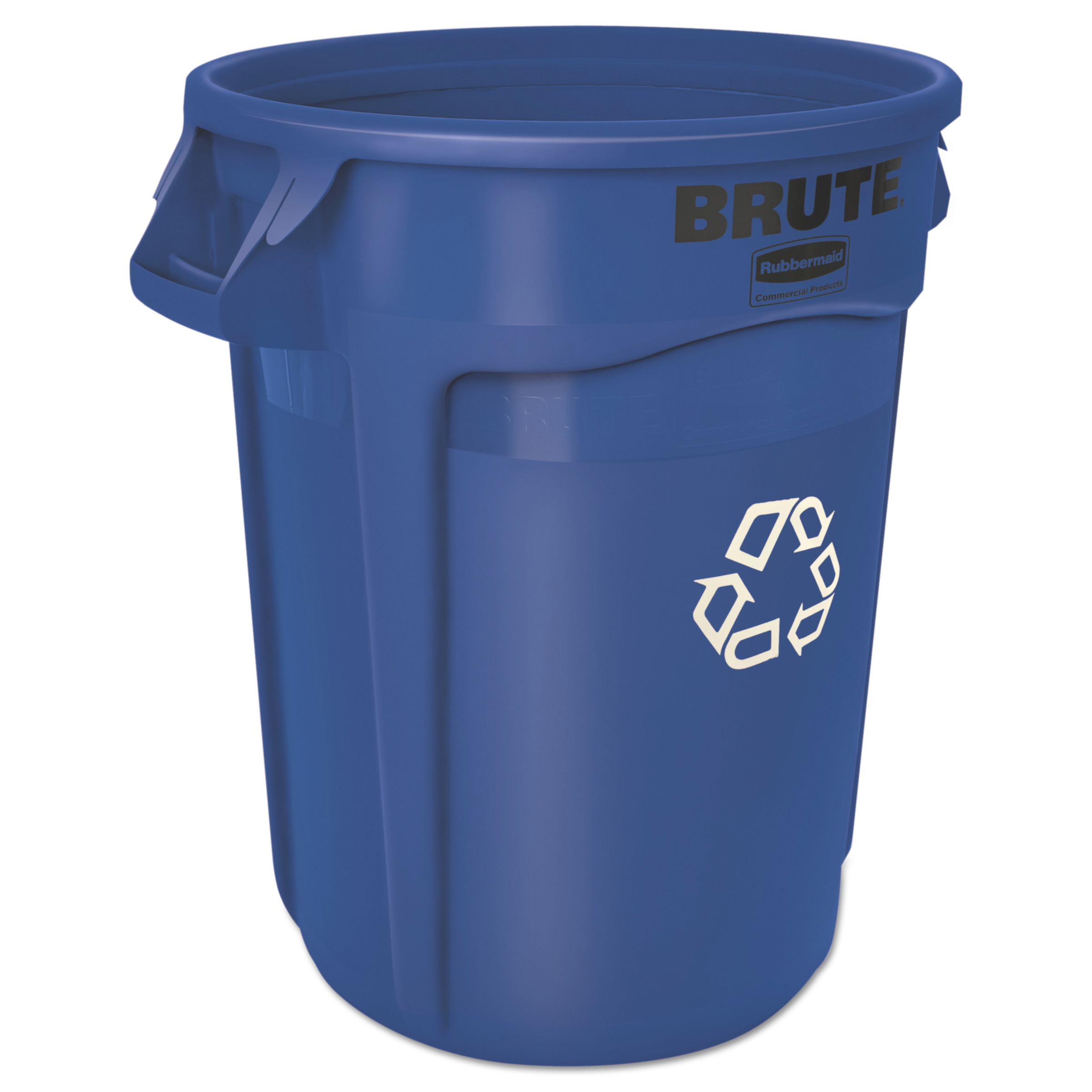 Rubbermaid Commercial Brute Recycling Container, Round, 32 gal, Blue