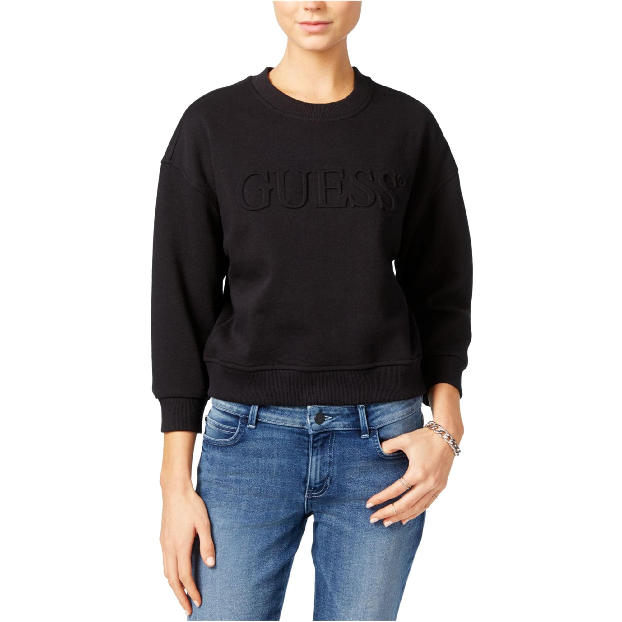 GUESS GUESS Womens Cropped Sweatshirt, Black, X Small