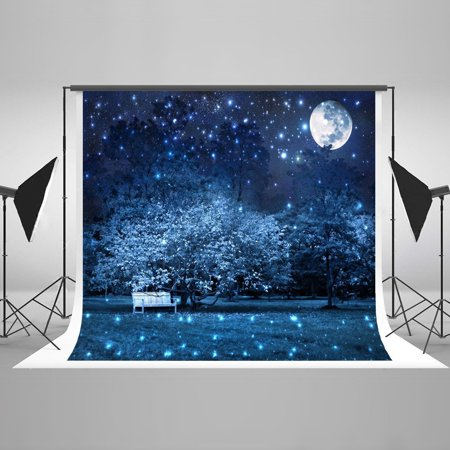 HelloDecor Polyster 7x5ft Starry Sky Photography Backdrops Full Moon Background Quiet Park Backdrop for Halloween Photo Backdrop](Full Moon Background)