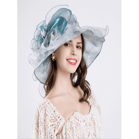 Women Four Season Foldable Organza Beach church Bohemia Hat Ruffles Wide Brim blue Valentine's Day - Diy Hats