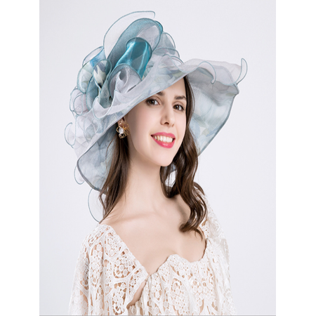 - Women's Organza Church Derby Fascinator Cap Kentucky Tea Party Wedding Hat Blue