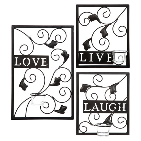 Hosley's Set of 3 Wall Sconce.  Live, Laugh, Love.  Sconces measure large 15