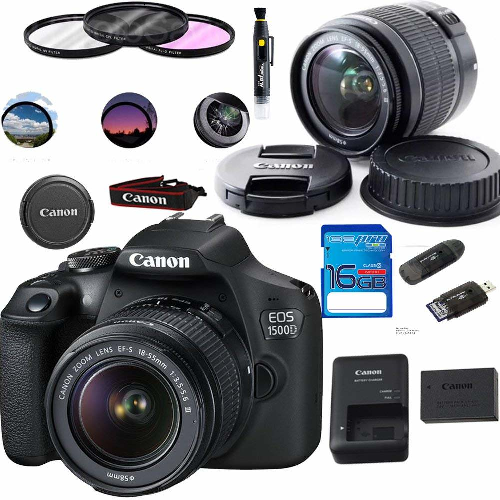 Canon EOS 1500D 24.1MP Digital SLR Camera (Black) with 18-55 IS II Lens + 32 GB Card + Pixi Basic Accessories Bundle Kit