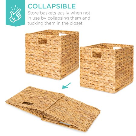 Best Choice Products Set Of 5 Multipurpose Collapsible Baskets Hyacinth Storage Organizer W Insert Handles Natural Walmart Com Walmart Com