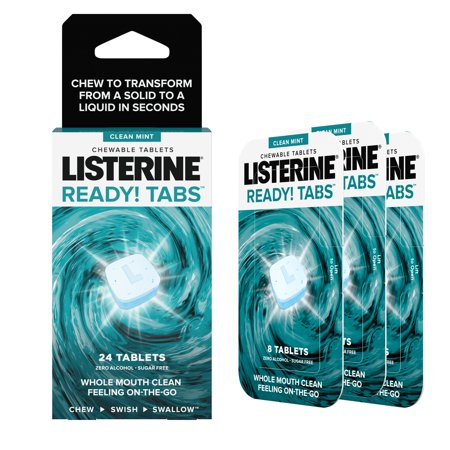 Listerine Ready! Tabs Chewable Tablets with Clean Mint Flavor, 24 ct