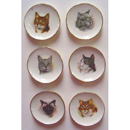 Dollhouse 6 Cat Plates (Doll Plate)