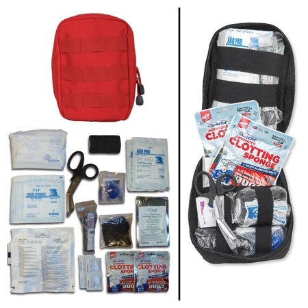 Ultimate Arms Gear Gunshot Bleeding Wound Treatment First Aid Trauma Kit in Red MOLLE Carrying Pouch Storage Case Fully Stocked 28-Piece USA MADE