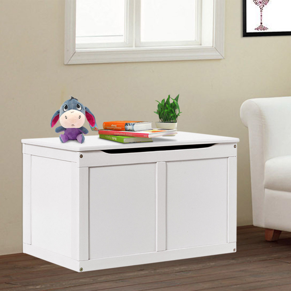 costway white wooden kids toy storage box chest organizer large bin boys &  girls