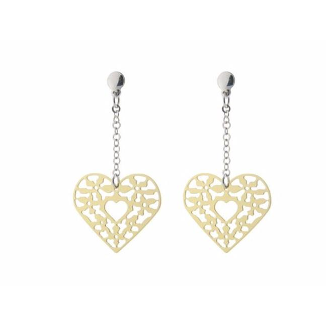 Fronay 95119P 2 in. Dangling Rose Plated Filigree Heart Sterling Silver Earrings - image 1 de 1