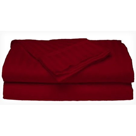Deluxe Home 100% Cotton  400 Thread Count Dobby Stripe Sheet Set ( QUEEN, BURGUNDY) ()