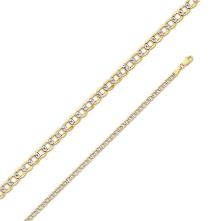 """14k Yellow Gold 3.4mm Cuban Concaved Curb White Pave Diamond-Cut Hollow Chain Necklace with Secure Lobster Claw Clasp 20"""""""