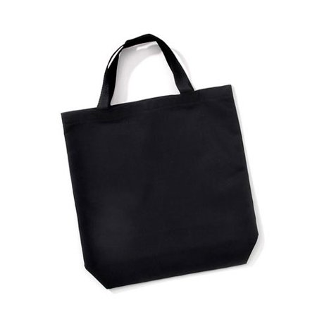 Poly Cotton Tote with Web Handles - Black - 14 x 16 inches