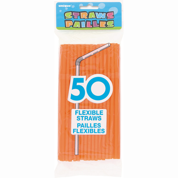 (3 Pack) Plastic Flexible Straws, 8 in, Orange, 150ct total