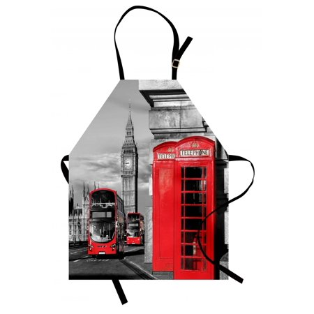 London Apron London Telephone Booth in the Street Traditional Local Cultural Icon England UK Retro, Unisex Kitchen Bib Apron with Adjustable Neck for Cooking Baking Gardening, Red Grey, by Ambesonne](Traditional Halloween Food Uk)