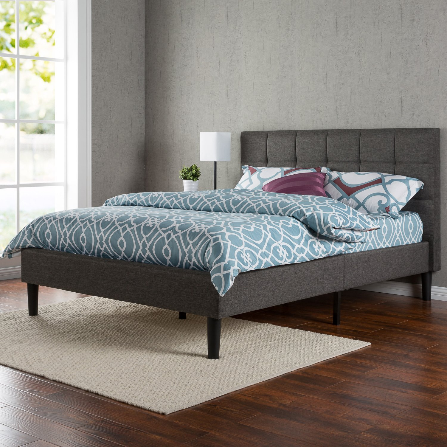 Zinus Upholstered Square Stitched Platform Bed With Headboard And Wooden  Slats, Multiple Sizes
