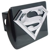 Superman 3D Logo Black and Chrome Hitch Cover