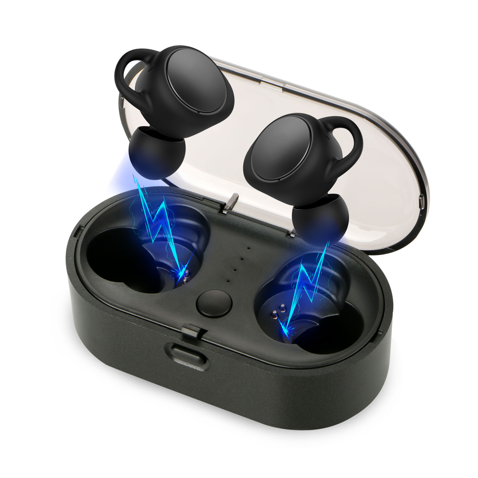 Universal Bluetooth 5.0 Wireless Headphones Stereo 3D Sound 18H Playtime Sweatproove Earphones with Charging Case
