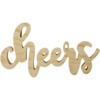 Mix The Media Wood Script Words-Cheers, Natural