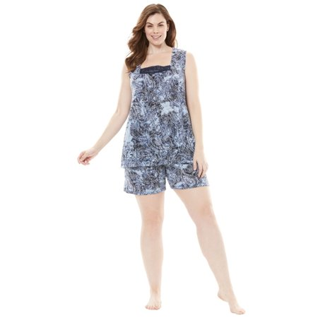 Plus Size Whisperweight Gauze Shorty Pj Set By Dreams &