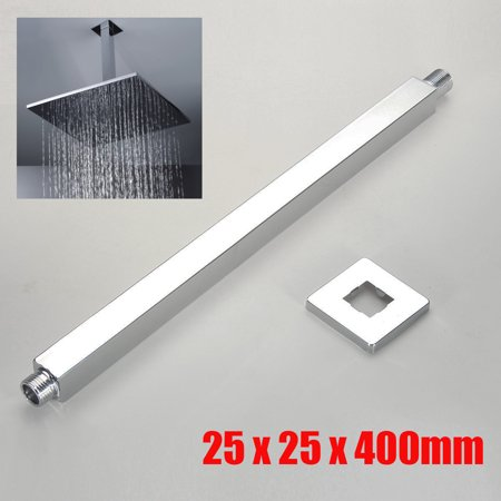 16 Inch Straight & 90° Chrome Square Ceiling Shower Head Arm Hose Extension Rod Wall Mounted Stainless steel