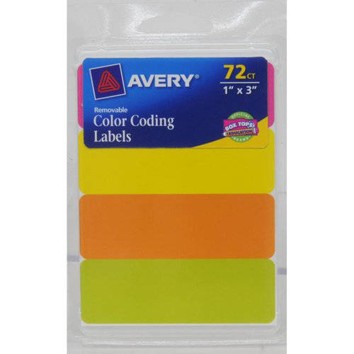 "Avery Rectangular Color Coding Labels 6722, 1"" x 3"" labels, Assorted Neon, Handwrite Only, Removable, 72pk"