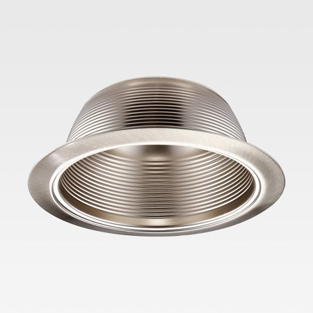 6 Inch Recessed Can Light Trim with Satin Nickel Metal Step Baffle, Detachable Iron Ring Included, Fit Halo and Juno Remodel Recessed Housing 3 Inch Step Baffle Trim