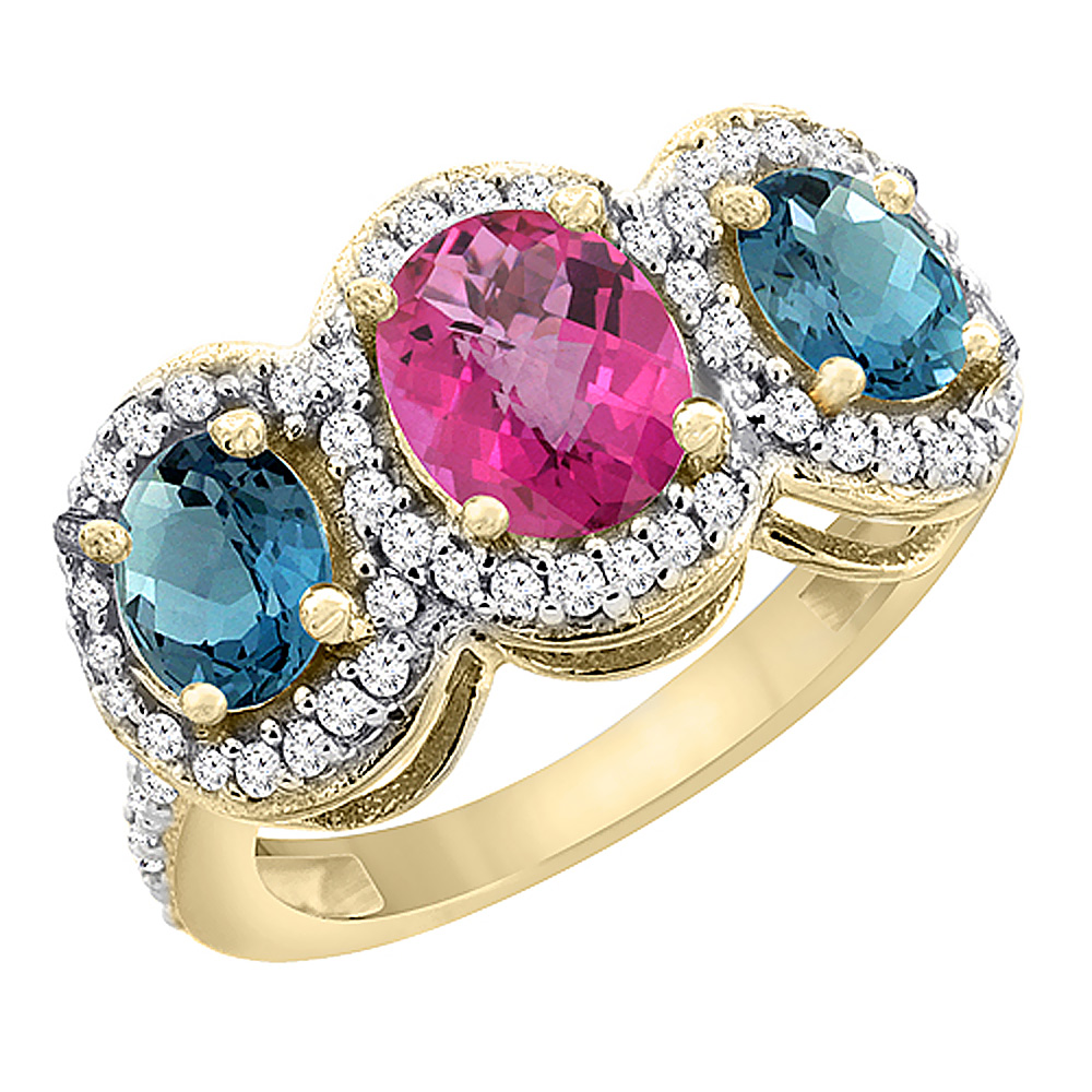 10K Yellow Gold Natural Pink Sapphire & London Blue Topaz 3-Stone Ring Oval Diamond Accent, size 5 by Gabriella Gold