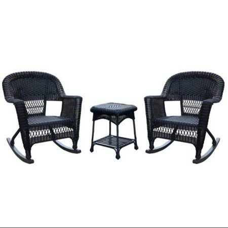3 Piece Tiana Black Resin Wicker Patio Rocker Chair And
